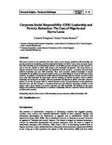 Corporate Social Responsibility (CSR) Leadership and Poverty ...