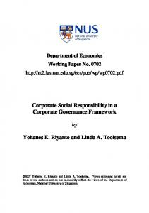Corporate Social Responsibility in a Corporate Governance ...