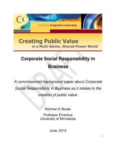 Corporate Social Responsibility in Business