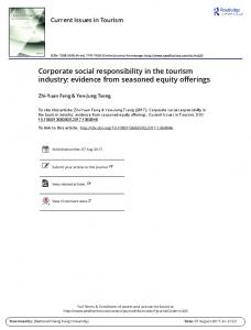 Corporate social responsibility in the tourism industry