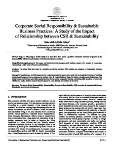 Corporate Social Responsibility & Sustainable Business Practices: A ...