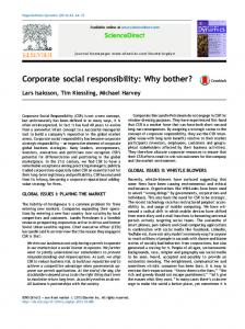 Corporate social responsibility: Why bother?