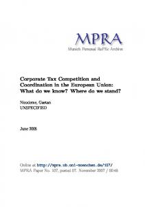 Corporate Tax Competition and Coordination in the European Union ...