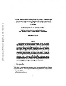 Corpus analysis without prior linguistic knowledge-unsupervised ...