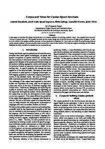 Corpus and Voices for Catalan Speech Synthesis - Semantic Scholar