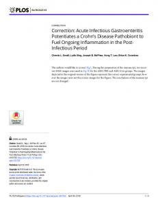 Correction: Acute Infectious Gastroenteritis Potentiates a ... - PLOS