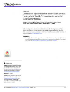 Correction: Mycobacterium tuberculosis arrests host cycle at the G1/S ...