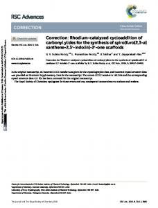 Correction: Rhodium-catalyzed cycloaddition of ...