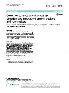 Correction to: electronic cigarette use behaviors ... - BMC Public Health