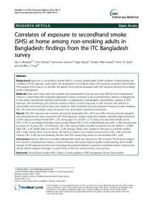 Correlates of exposure to secondhand smoke (SHS) at home among ...