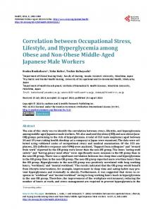 Correlation between Occupational Stress, Lifestyle, and ...