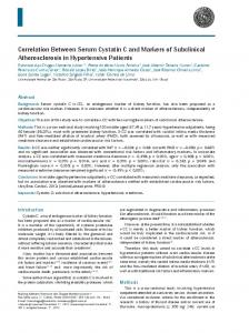 Correlation Between Serum Cystatin C and Markers of Subclinical ...