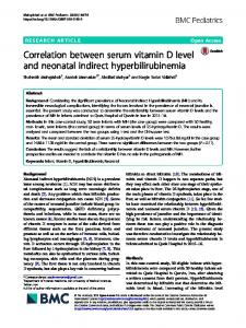 Correlation between serum vitamin D level and ... - BMC Pediatrics