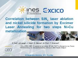 Correlation between SiNx laser ablation and nickel silicide formation ...