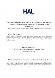 Correlation between structural and optical properties of WO3 thin ... - Hal