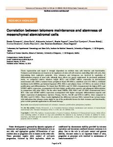 Correlation between telomere maintenance and stemness of ...