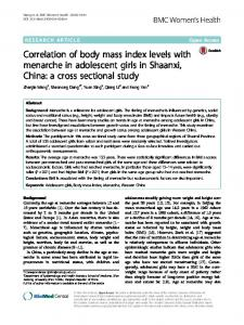 Correlation of body mass index levels with menarche in adolescent ...