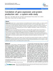 Correlation of gene expression and protein ... - BioMedSearch
