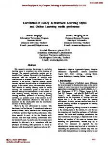 Correlation of Honey & Mumford Learning Styles and Online Learning ...