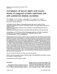 Correlation of serum leptin and insulin levels of pregnant ... - Core