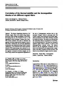 Correlation of the thermal stability and the decomposition ... - UFRGS
