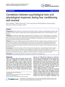Correlations between psychological tests and physiological responses ...