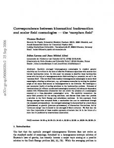 Correspondence between kinematical backreaction and scalar field ...