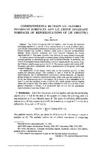 correspondence between lie algebra invariant subspaces and lie