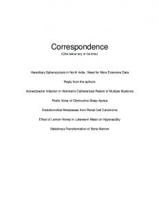 Correspondence - Journal of the Association of Physicians of India