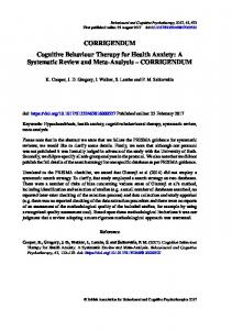 CORRIGENDUM Cognitive Behaviour Therapy for Health Anxiety: A ...