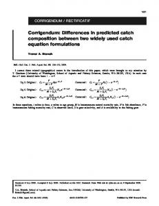 Corrigendum: Differences in predicted catch ...
