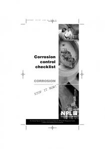 Corrosion control checklist - National Physical Laboratory