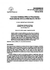Corrosion Inhibition Effect of Dicycloimine
