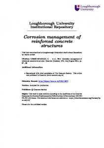 Corrosion management of reinforced concrete structures