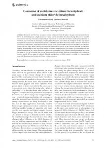 Corrosion of metals in zinc nitrate hexahydrate and calcium chloride