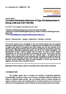 Corrosion Polarization Behaviour of Type 316 Stainless Steel in ...