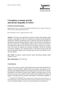 Corruption, economic growth, and income inequality in ... - Springer Link