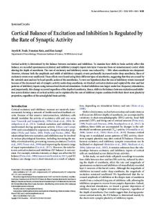 Cortical Balance of Excitation and Inhibition Is Regulated by the Rate ...