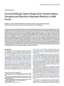 Cortical Cholinergic Input Is Required for Normal ... - Semantic Scholar