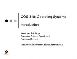 COS 318: Operating Systems Introduction - Princeton University