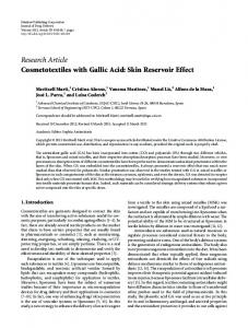 Cosmetotextiles with Gallic Acid: Skin Reservoir Effect
