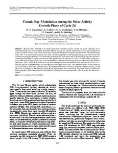 Cosmic Ray Modulation during the Solar Activity ... - Springer Link