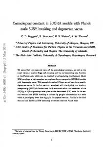 Cosmological constant in SUGRA models with Planck scale SUSY ...