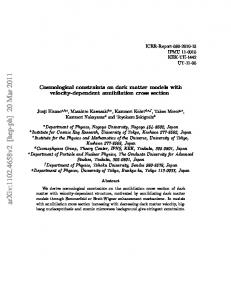 Cosmological constraints on dark matter models with velocity ...