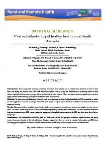 Cost and affordability of healthy food in rural South Australia