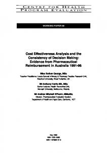 Cost Effectiveness Analysis and the Consistency of Decision Making ...