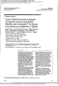 Cost-effectiveness analysis of sacral neuromodulation