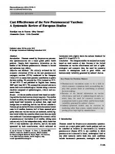 Cost Effectiveness of the New Pneumococcal Vaccines: A Systematic ...