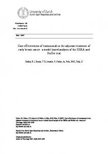 Cost-effectiveness of trastuzumab in the adjuvant treatment of early ...