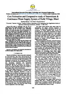 Cost Estimation and Comparative study of Intermittent ... - IJETAE